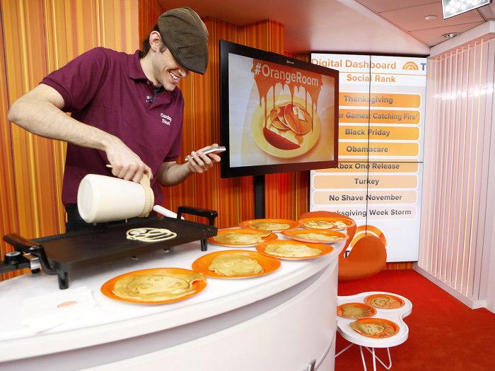 Dan the Pancake Man hard at work making his edible art.