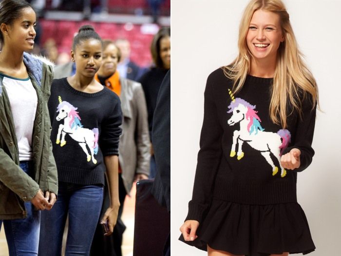 Image: Sasha Obama wearing a unicorn sweater