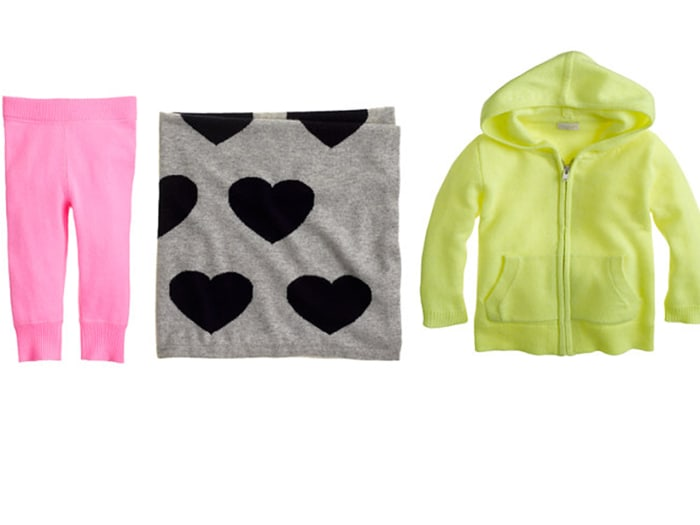 J. Crew cashmere leggings ($98), baby blanket in heart print ($198) and hoodie ($135).