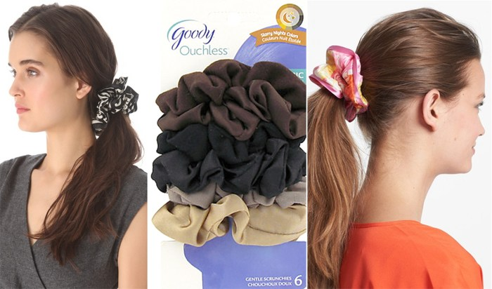 Scrunchies for sale by Marc Jacobs ($32), Goody ($5.49) and L. Erickson ($54).