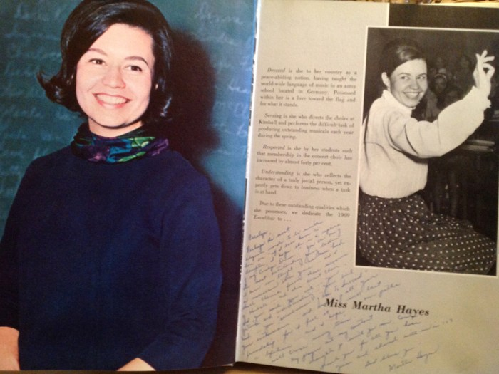 Hayes in a one-page spread the yearbook dedicated to her.