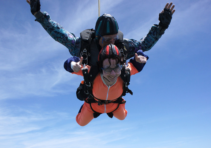 Lara Huffman, who is 33 and lives in Pittsburgh, went sky-diving just two days before her double mastectomy in May of 2012.