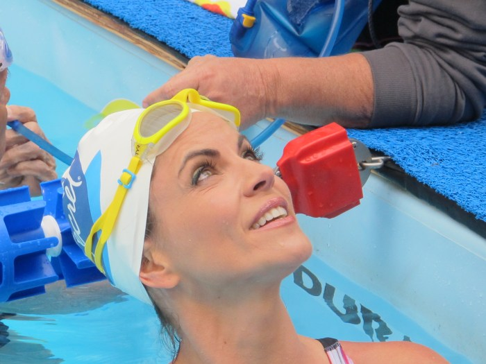 natalie swims with diana nyad to help sandy victims