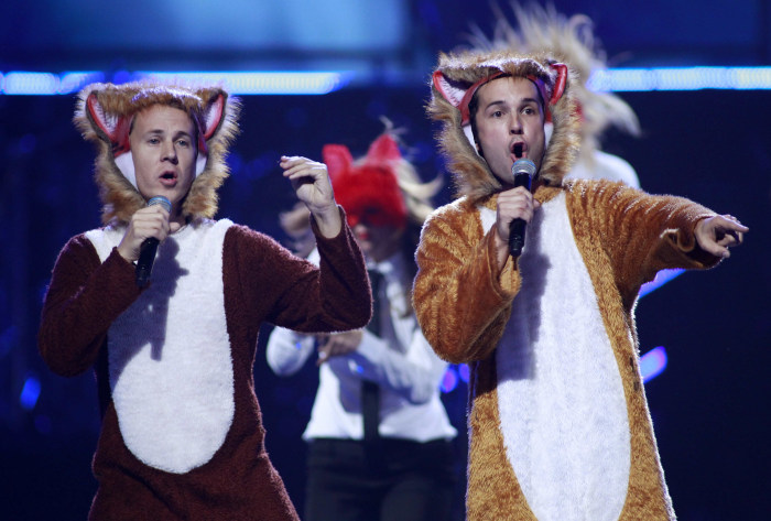 "Norwegian duo Ylvis perform ""The Fox"" during the iHeartRadio Music Festival at the MGM Grand Garden Arena in Las Vegas."