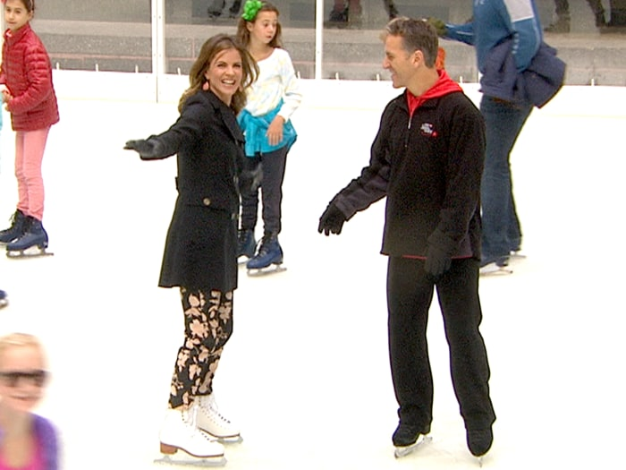 Natalie Morales skates with Olympian Elvis Stojko on opening day of The Rink at Rockefeller Center.