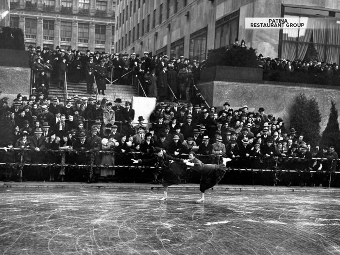 The Rink at Rockefeller Center opened in 1936 as a way to get more people to visit what was then known as The Sunken Plaza. Pictured in its first year, it was supposed to be a temporary attraction but became a fixture.