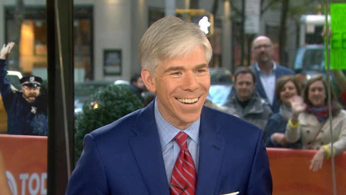 In our version of the meme, the celebrating Boston police officer is pumped up for Monday's edition of TODAY as he watches David Gregory.