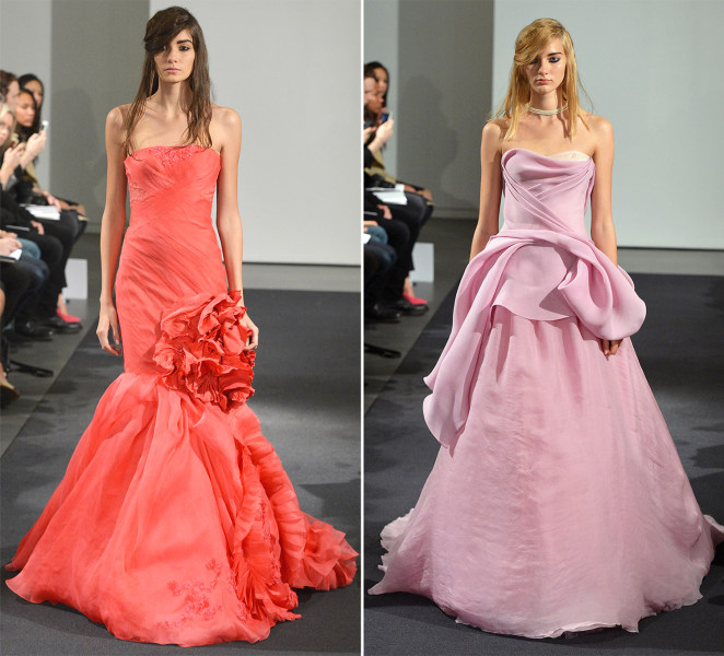 Models walk the runway during the Vera Wang Fall 2014 Bridal collection show on October 11, 2013 in New York City.