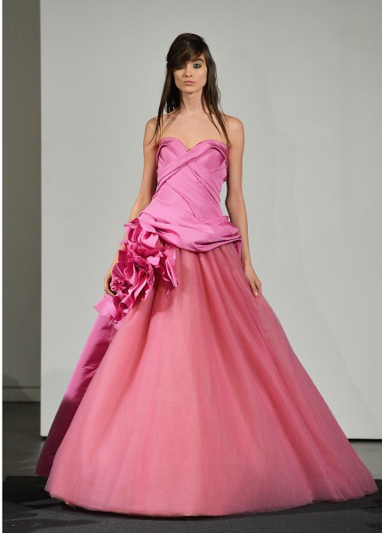A model shows off a pink gown from Vera Wang's line.