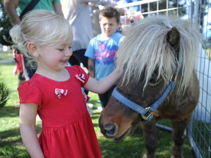 Malia Reiser pets a pony in the petting zoo at the Dana Point Easter egg hunt at Pines Park in Dana Point, Calif., on Saturday, April 7, 2012. (AP Pho...