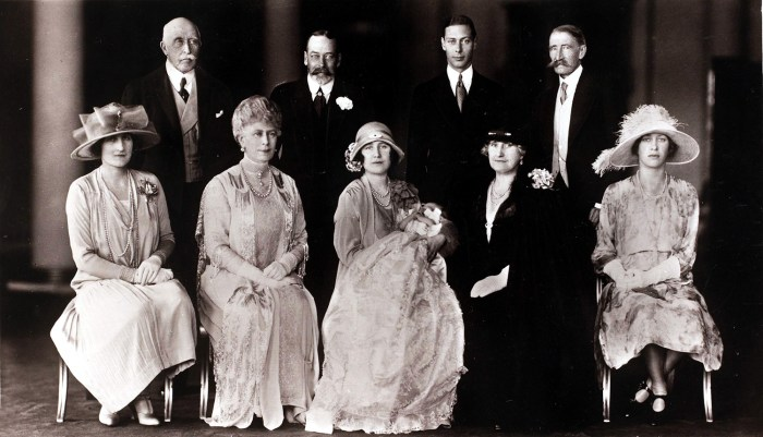 This 1926 royal family portrait was taken on the day Princess Elizabeth Alexandra Mary, now Queen Elizabeth II, was christened at Buckingham Palace.