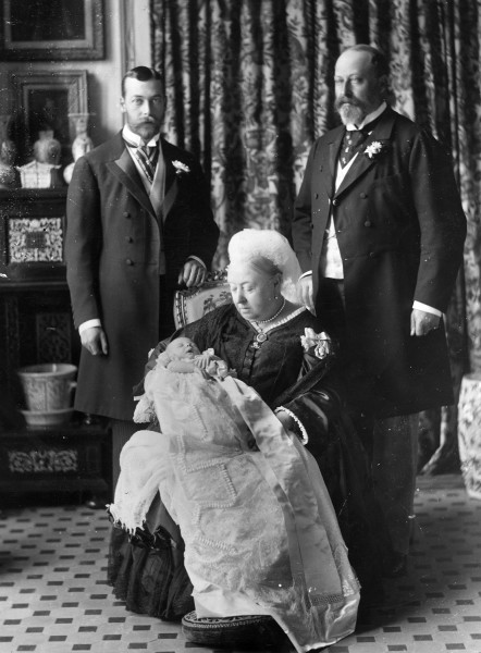 Image: This 1894 photo was taken at the christening of Prince Edward Albert of York (later King  Edward VIII) with his father, grandfather and great-grandmother.