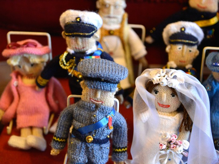 Image: Margaret Tyler's collection includes these commemorative puppets representing the wedding of Britain's Prince William and Duchess Kate.