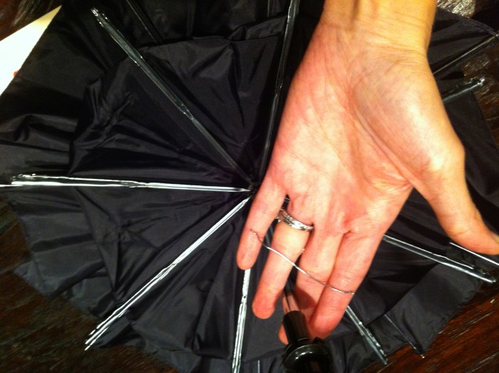 Image: Black umbrella used to make bat costume