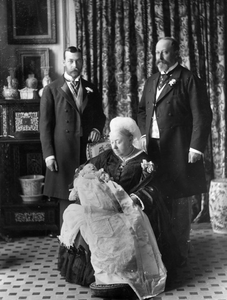 1894:  The christening of Prince Edward Albert of York (later King  Edward VIII, 1894 - 1972), with his father, grandfather and great grandmother. The...