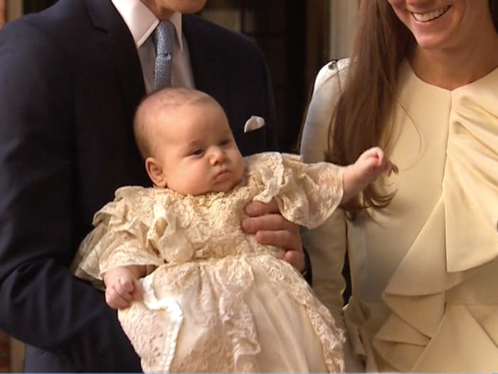 Prince George, outside St. James Palace for his christening on Wednesday.