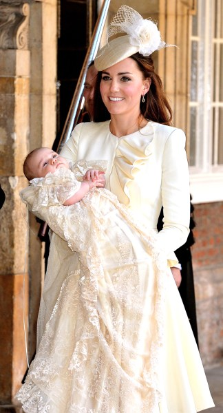 Kate Duchess of Cambridge carries her son Prince George after his christening at the Chapel Royal in St James's Palace in London, Wednesday Oct. 23, 2...