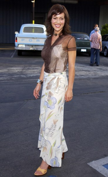 Alyssa Milano poses in an outfit from the 00s.