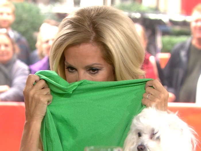 Kathie Lee stuck her nose in the shirt to smell-test it.