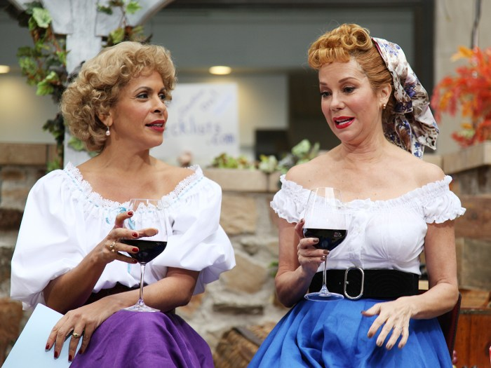 "Kathie Lee and Hoda dressed up as actresses Lucille Ball and Vivian Vance - the iconic actresses of the classic TV show ""I Love Lucy."""