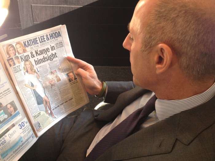 Matt Lauer reading Kathie Lee and Hoda's new column.
