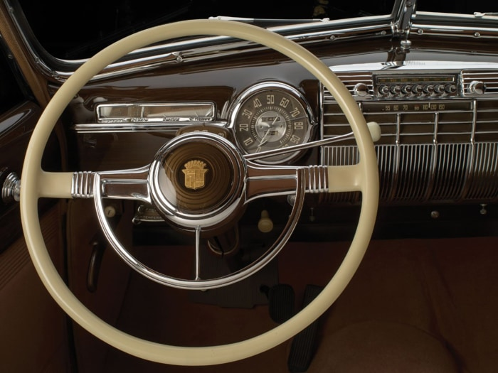 "This photo provided by Sotheby's, Wednesday, Oct. 23, 2013 in New York, shows the steering wheel of a 1941 Cadillac. Dubbed ""The Duchess,"" the limousi..."