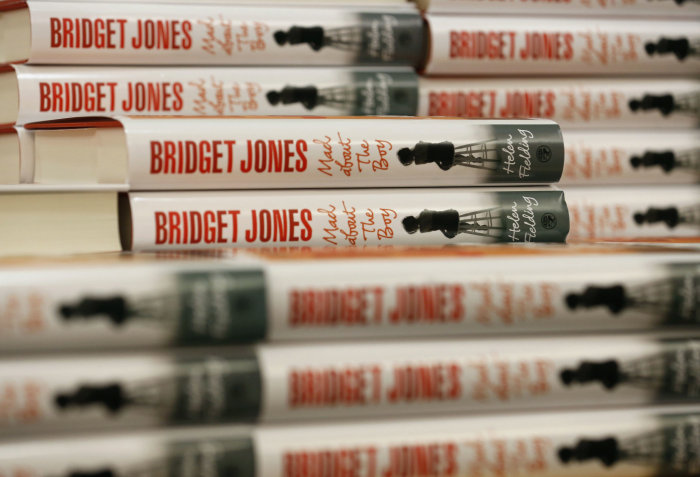 "Copies of British author Helen Fielding's new novel ""Bridget Jones: Mad About the Boy"" are stacked up at Foyles bookshop in London October 10, 2013.  ..."