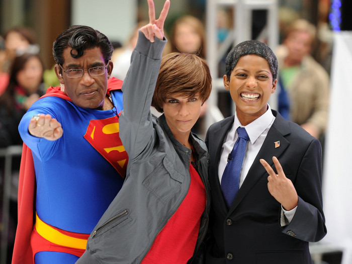 Al, Natalie and Tamron appear on Halloween in 2010 as Superman, Justin Bieber and President Obama.