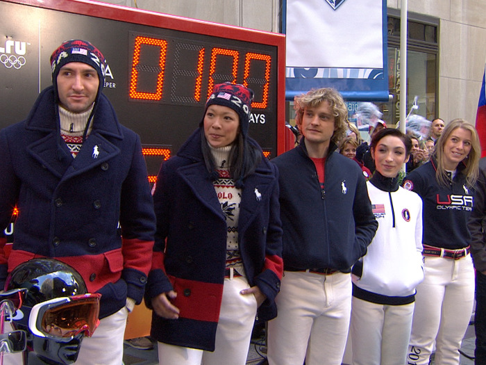 The U.S. Olympians celebrated the start of the 100-day countdown to the Opening Ceremonies is Sochi by showing off apparel that is entirely made in America.