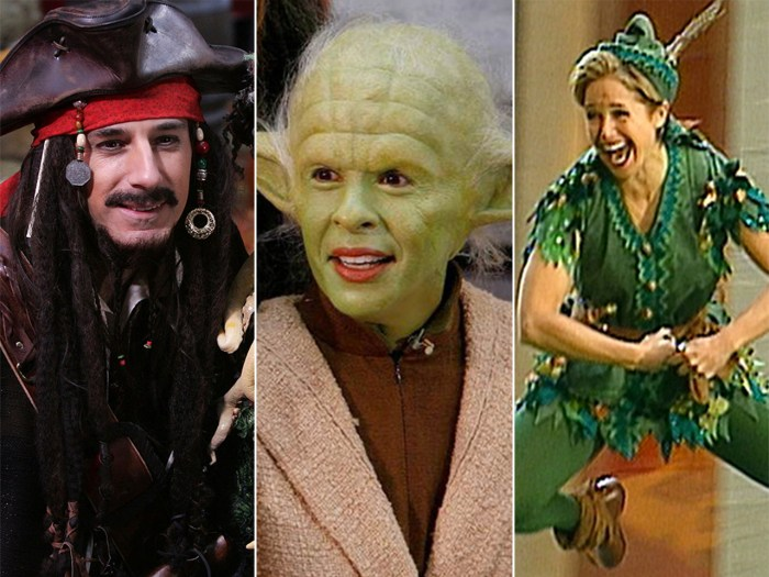 Matt as Captain Jack Sparrow, Hoda as Yoda and Katie as Peter Pan.