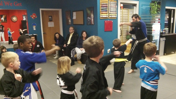 Christopher Pollak trains students in martial arts at a studio in New Jersey.