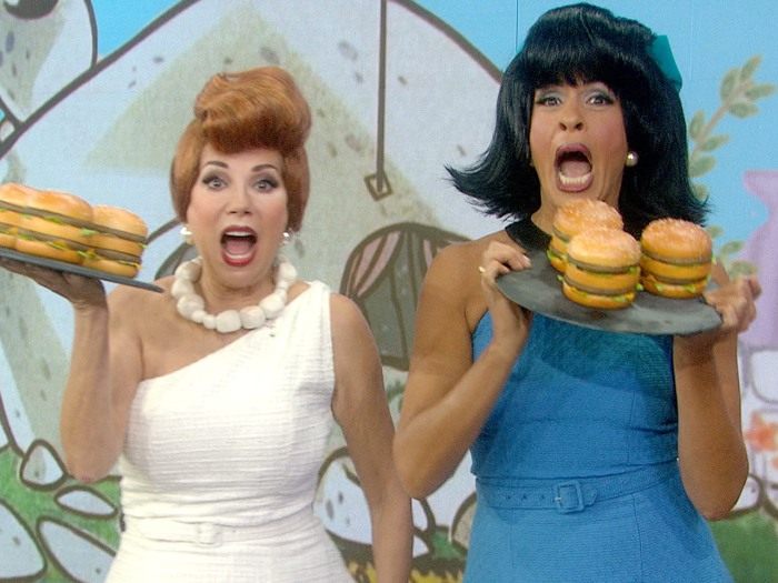 Kathie Lee and Hoda as Betty and Wilma.