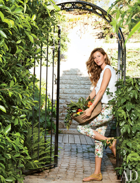 Supermodel Gisele Bundchen shows off her home with NFL star husband Tom Brady in the latest issue of Architectural Digest.