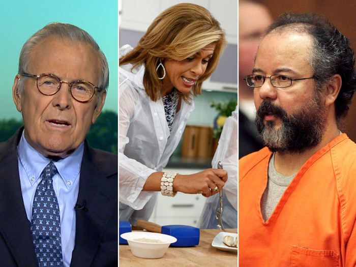 Rumsfeld talks Syria, Hoda makes fish and Castro's lawyer protests.