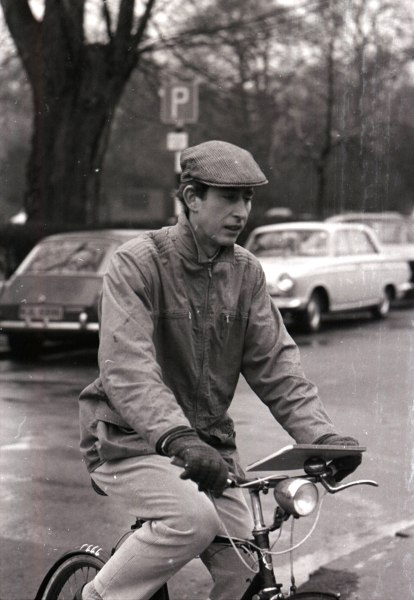 Charles cycles to a lecture in 1969.
