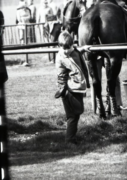 Andrew puts his foot in horse manure at a polo match in Smith's Lawn in 1968.