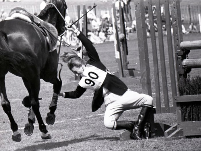 Anne takes a tumble from her horse 'Purple Star' in 1970.
