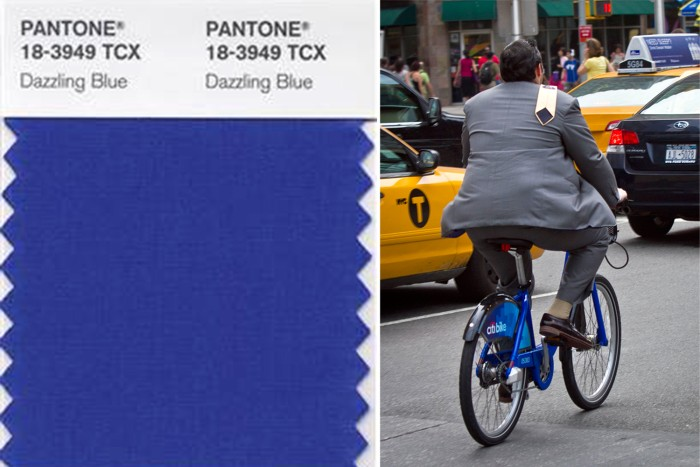 "Pantone's ""Dazzling Blue"" is in the lead for the color of spring 2014. The striking hue was partially inspired by New York City's Citi Bike program."