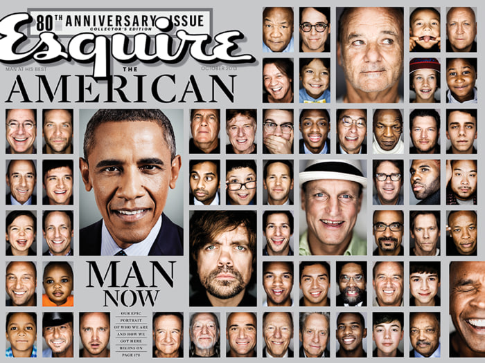 "The cover of Esquire's 80th anniversary issue features a photo essay on the ""Life of Man."""