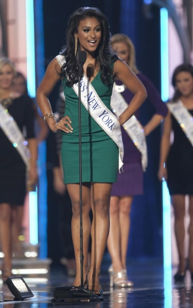 Miss America 2014 contestant, Miss New York Nina Davuluri competes in a preliminary round during the Miss America Pageant in Atlantic City, New Jersey...