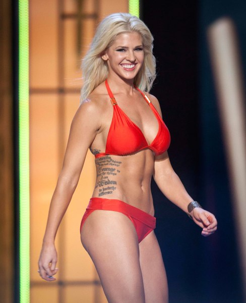 Miss Kansas, Theresa Vail, is seen on stage during the bathing suit portion of the preliminary round of the Miss America pageant in Atlantic City, New...