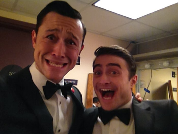 Joseph Gordon-Levitt posted an unexpected behind-the-scenes shot with Daniel Radcliffe at the 2013 Oscars. The duo joined host Seth MacFarlane on stage for a musical number.
