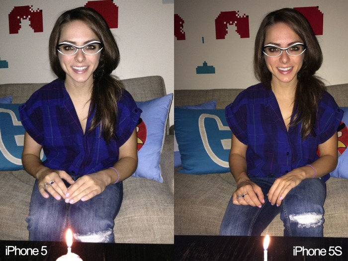 The same low-light flash photos taken with iPhone 5 and iPhone 5S