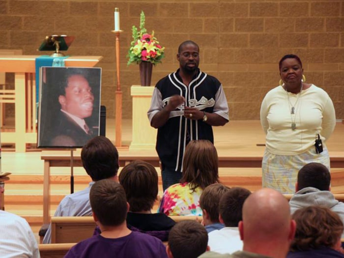 Mary and Oshea sharing their story at a church in Minnesota, Sept. 2010.