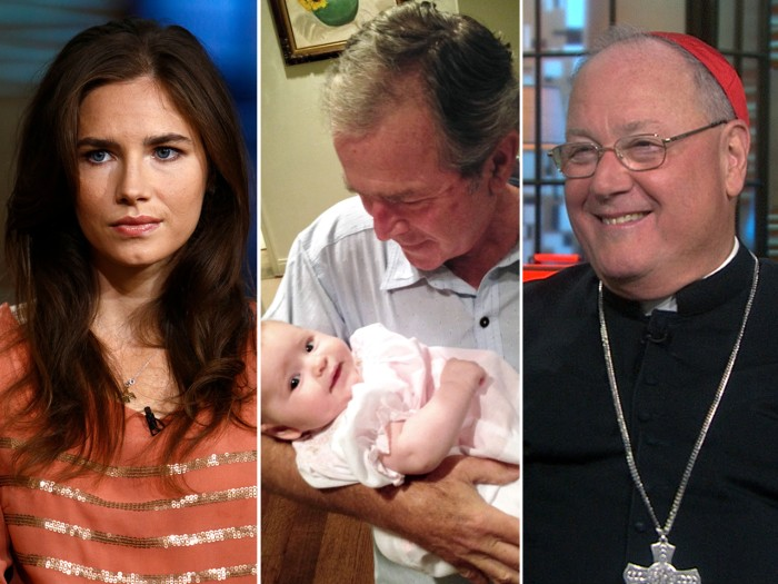 Amanda Knox won't go back to Italy, George W. Bush makes his grandchild giggle and Cardinal Dolan praises the pope.