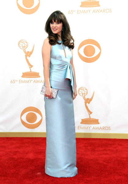 LOS ANGELES, CA - SEPTEMBER 22:  Actress Zooey Deschanel arrives at the 65th Annual Primetime Emmy Awards held at Nokia Theatre L.A. Live on September...