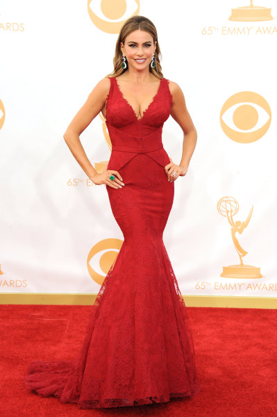 Sofia Vergara, wearing Vera Wang, arrives at the 65th Primetime Emmy Awards at Nokia Theatre on Sunday Sept. 22, 2013, in Los Angeles.  (Photo by Jord...