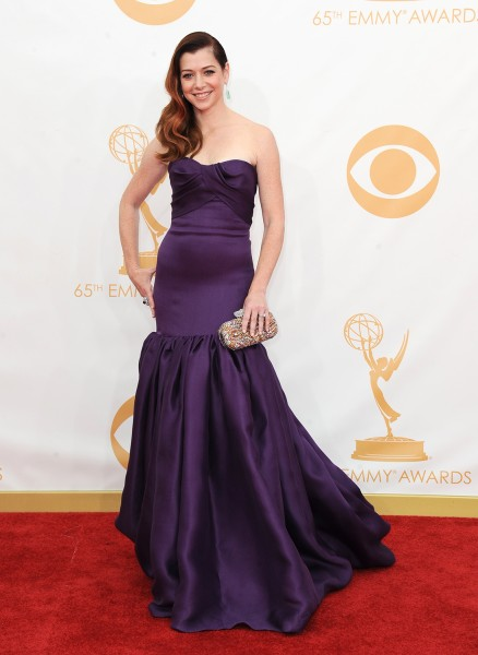 Alyson Hannigan arrives at the 65th Primetime Emmy Awards at Nokia Theatre on Sunday Sept. 22, 2013, in Los Angeles.  (Photo by Jordan Strauss/Invisio...