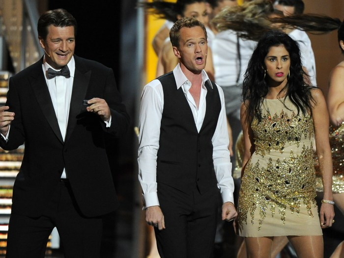 IMAGE: Nathan Fillion, Neil Patrick Harris, and Sarah Silverman