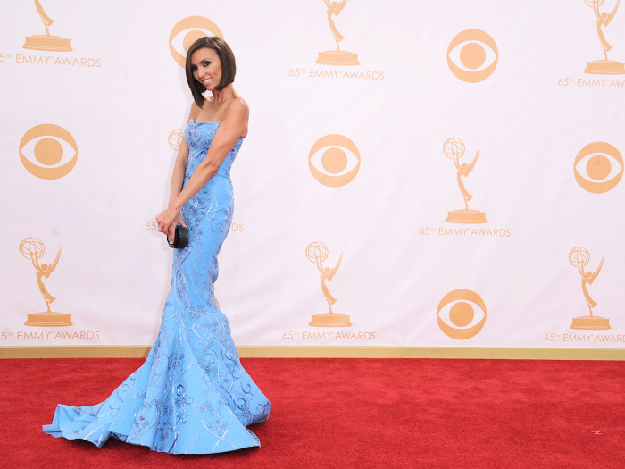 Giuliana Rancic arrives at the 65th Primetime Emmy Awards at Nokia Theatre on Sunday, Sept. 22, 2013, in Los Angeles.  (Photo by Jordan Strauss/Invisi...